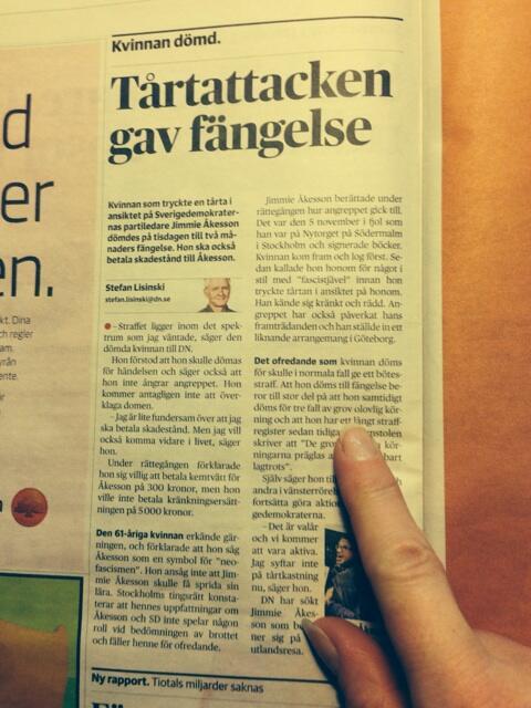 Faximil från DN, domskälen står 3/4 in i artikeln