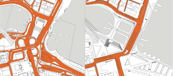 Trafikytor i gamla och Nya Slussen, markant mindre i Nya