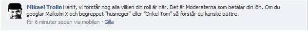 Mikael Trolin kallar Hanif Bali husneger och Onkel Tom p Facebook