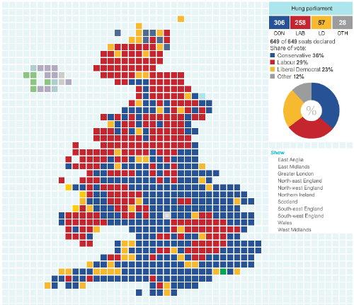 Valkarta med mandatfördelning